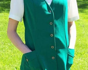 Vintage 1960s Ladies Green Skirt & Matching Vest by Alex Colman Size 12 Mod Retro Only 20 USD