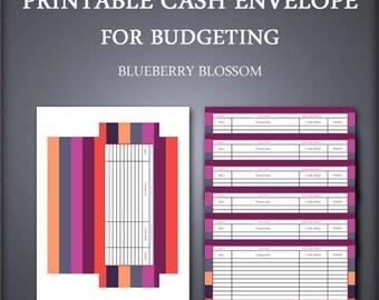 Printable Cash Envelope - Envelope Organizer - Cash Envelope Wallet - Blueberry Blossom - Petty Cash Envelope - Budget Envelope