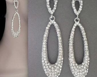 Crystal statement earrings ~ Chandelier earrings ~ Long ~ Brides earrings ~ Statement earrings ~  Modern ~ Chic ~ Wedding earrings ~ SPARKLY