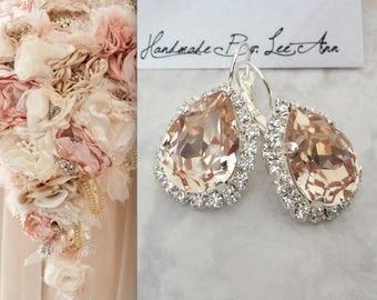Champagne crystal earrings, Swarovski light silk crystal earrings,Halo crystal earrings,Brides earrings,Bridesmaids earrings,Wedding, SOPHIA