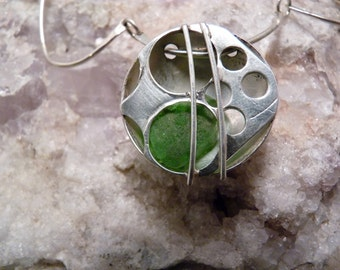 Green Beach Glass Necklace, Sterling Silver, Contemporary, Sea Glass