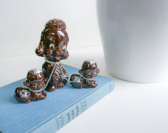 Retro Mid Century, Redware Dog Figurines, Brown, Momma POODLE, Two 2 puppies on Chain, Japan
