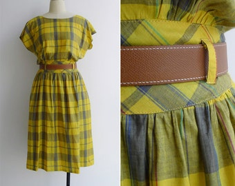 Vintage 80's Madras Plaid Checkered Batwing Button Back Dress S or M