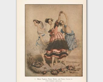 """Shabby Chic Art Print, Vintage Ballet Picture (Ballet Gift for Dancers --- """"The Three Graces"""""""