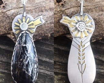 Windmill necklace, wheat necklace, reversible necklace, farming is the profession of hope, pilbara jasper necklace