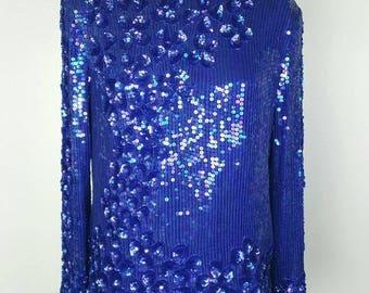 Sequin Top - M/L - Beautiful Blue