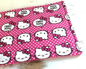 Hello Kitty Trivet Large Rectangle Reversible  Hot Pink White Polka Dot Motif Hot Pink  Fabric Hot Pad Teacher Gift Pollyanna Gift Basket