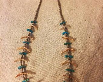 Early Vintage Native American Santo Domingo Handmade Fetish Treasure Necklace