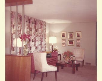 "Vintage Snapshot ""Home Beautiful"" Interior Design Lighting Decorating Found Vernacular Photo"