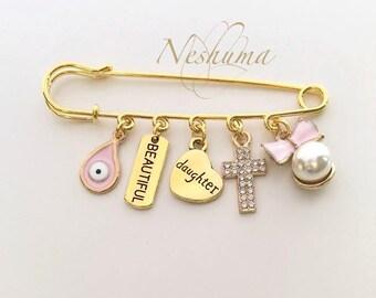 Baby Girl Pin, Newborn Girl Pin, Newborn Gift, Baby Jewelry, Stroller Pin Baby Pin, Baby Cross, Baby Evil Eye, Baby Pins, Baby Shower Gift,