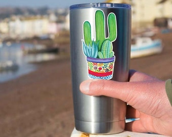 Small Cactus Succulent Sticker - Laptop Decal Yeti Tumbler Decal Floral Potted Cactus Plant Yeti Tumbler Decal Watercolor Art Desert Plants