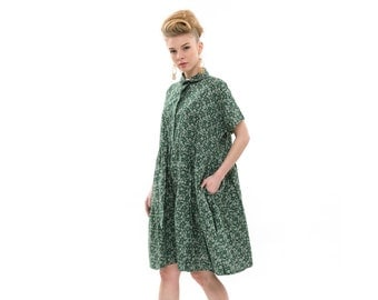 Green dress with print, high waist,  Fashion Dress for Summer, short Sleeves Loose and  Relxed Fit