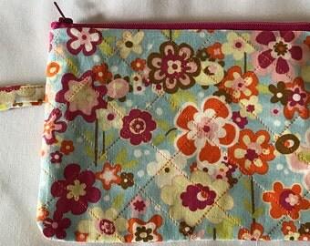 Flowered Zipper Wristlet