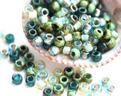 10g Toho Seed Blue Green Beads Mix - Golden Ocean - MayaHoney Special Mix, 6/0 size, hybrid rocailles - S1128