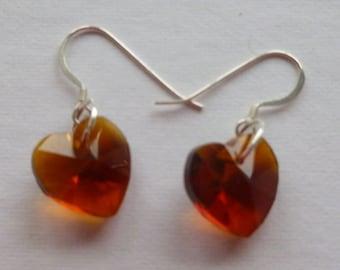 Sterling Silver and Swarovski Heart Crystal Earrings