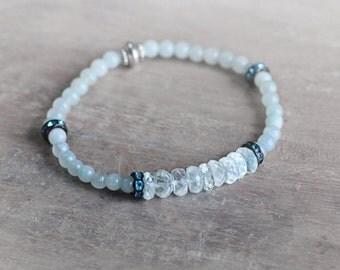 Aquamarine Bracelet - Stretch Bracelet - Aquamarine Jewellery - March Birthstone - Aquamarine Stone Bracelet - Blue Beaded Bracelet