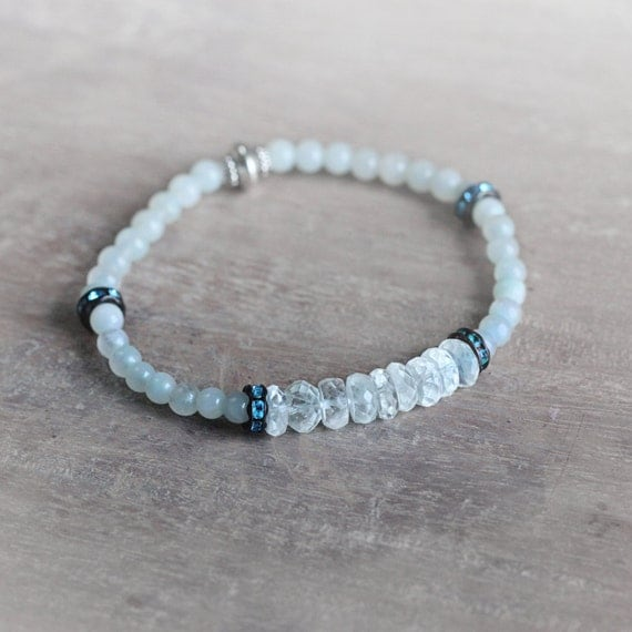 Aquamarine Stretch Bracelet - March Birthstone Gift