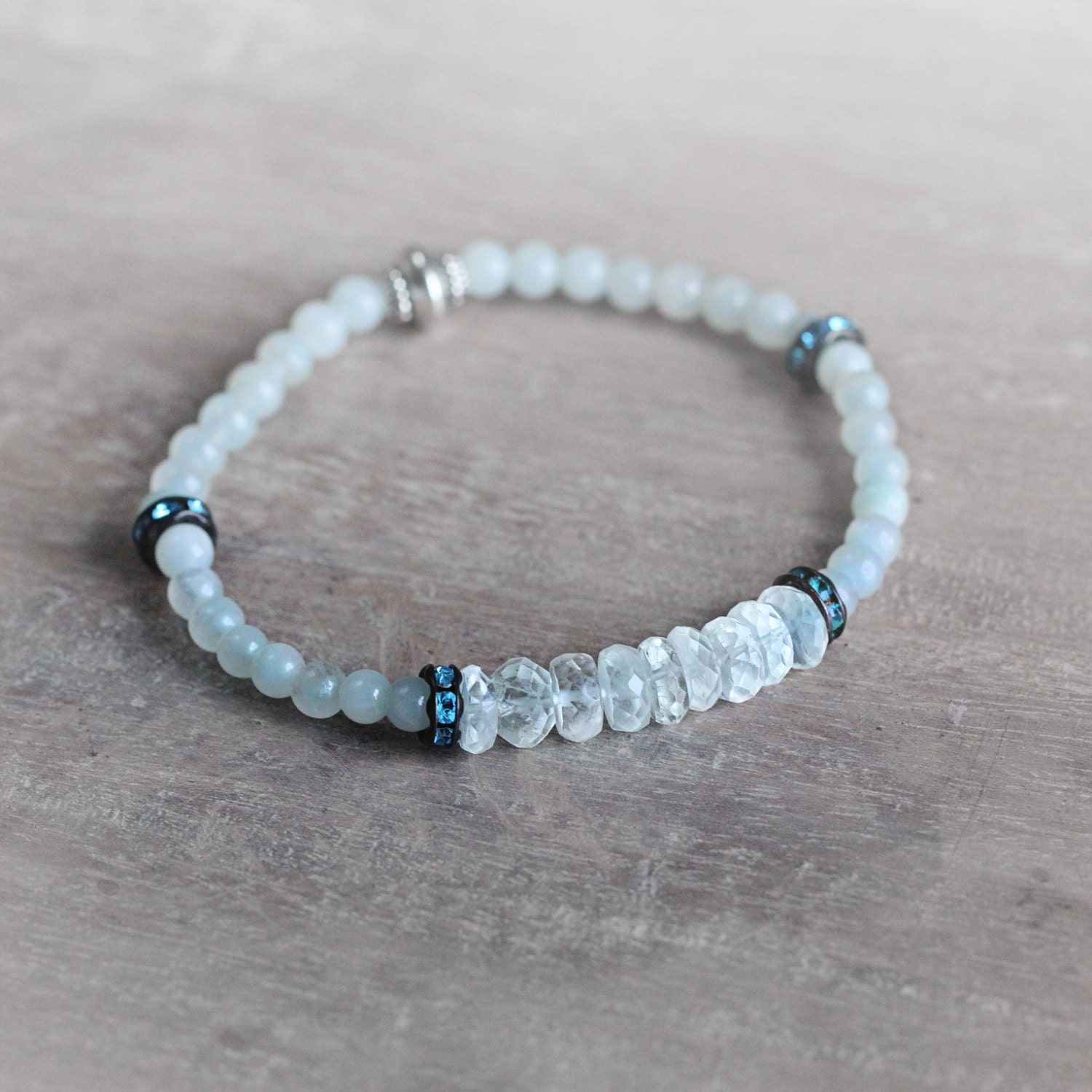 Aquamarine Bracelet - Stretch Bracelet - Aquamarine Jewellery - March Birthstone - Aquamarine Stone Bracelet - Blue Beaded Bracelet