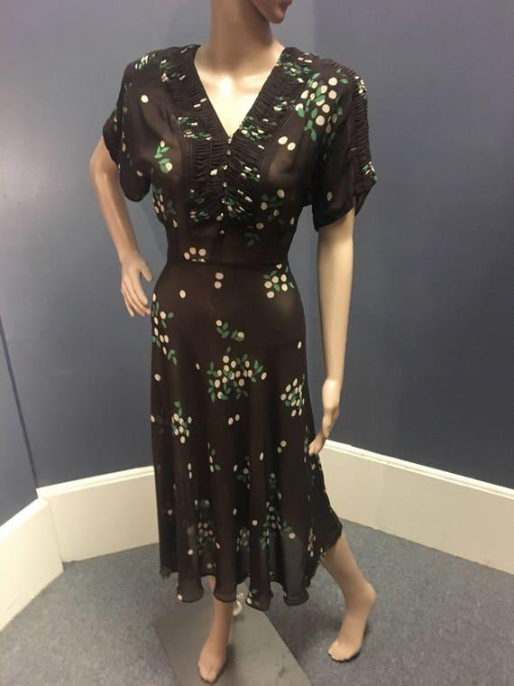1940s Brown, Green amd White Silk Chiffon Dress 32 Waist