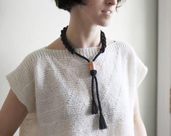 collier de corde de coton noué avec tube de cuivre, choisissez votre couleur,