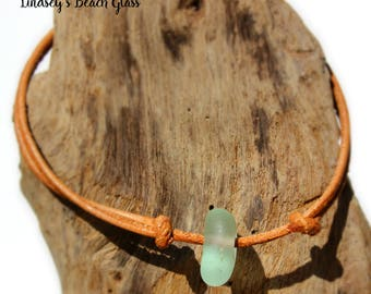Hawaiian Aqua Beach Glass on India Leather Cord Completely Adjustable & Stackable Bracelet
