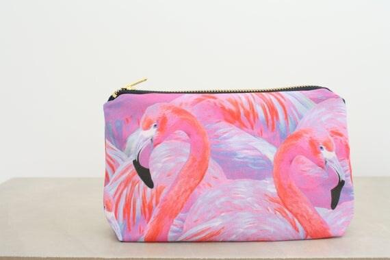 Flamingo Cosmetic Bag Flamingo makeup bag Pink flamingo toiletry bag Exotic flamingo travel pouch Travel pouch Beach pouch Summer essentials