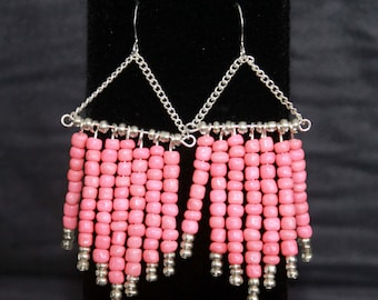 Coral and Silver Seed Bead Chevron Dangle Earrings