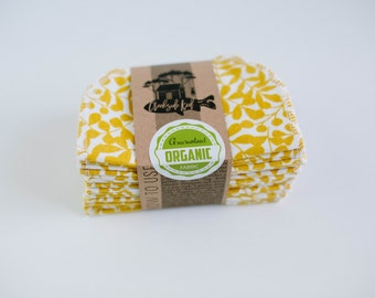 Organic Cloth Wipes - Flannel Cloth Wipes - Organic Wipes - Double Layer -  Straw Gold Color  - Choose your Quantity & Size