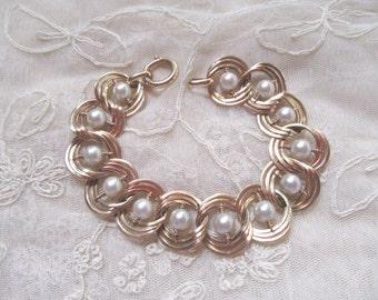 15% Off SALE! 14k Cultured Pearl Triple Link Bracelet Appraised! 26.3 Grams 6.5mm Pearls Fine Estate Jewelry Bride Wedding Something Old