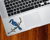 """CLR:TP - Blue Jay Bird Perched on Branch - Stained Glass Style Vinyl Trackpad Decal  ©YYDC (3""""w x 2.25""""h)"""