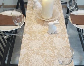 Tan Floral Table Runner, Cream Floral Table Runner, Spring Table Runner