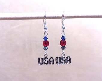 USA Charm Earrings, Red Glass Bead & Blue Crystal Silver Plated USA Charm Earrings, Handmade Beaded Jewelry, Patriotic Jewelry Made in USA