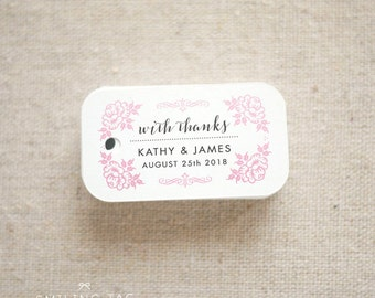 With Thanks Vintage Inspired Wedding Favor Tags - Personalized Gift Tags - Bridal Shower - Thank you tags - Party Tags - (Item code: J672)