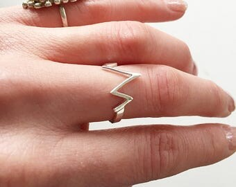 Beautiful Vintage 925 Sterling Silver Signed Zig Zag Ring Sz 7