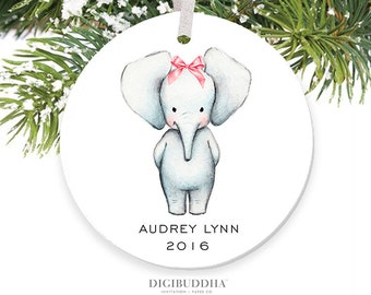 Baby Elephant Ornament Baby's First Christmas Ornament New Baby Ornament Girl Christmas Ornament Personalized Baby Ornament Newborn Baby