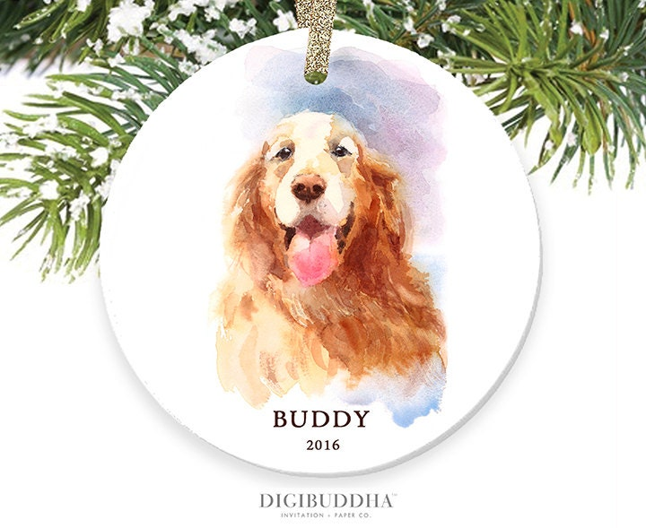 Golden Retriever Ornament Personalized Dog Ornament - white porcelain