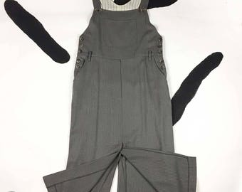 90s Grey Pinstripe Overall Dress / Front and Back Slits / High Slit / Executive Casual / Jumper / Friends / Grunge / Neutrals / Minimal / XL