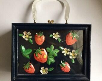 Vintage 1960s Black Strawberry Wood Purse Unusual
