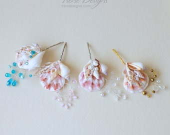 One seashell bobby pin. Beach wedding hair accessories. Nautical wedding headpiece