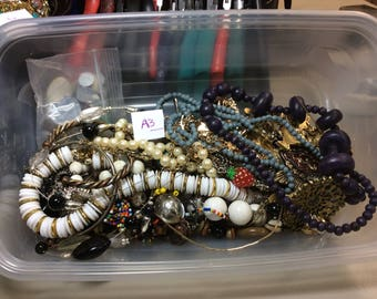 Free US SHIPPING vintage jewelry pins necklaces craft parts beads misc stuff over 1-1/2 lbs Lot A3