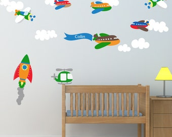 Planes Decal, Rocket Decal, Cars Decal, City Scene Decal, Ecofriendly No Toxins No PVCs Decals, WD800sa
