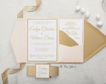 Elegant wedding invitation pocketfold, blush and gold wedding invitation suite, navy wedding invitations, Custom Wedding, Evelyn