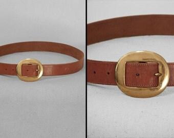 Caramel Brown BELT 1960s Gold Metal Buckle Size 28 to 31 Waist