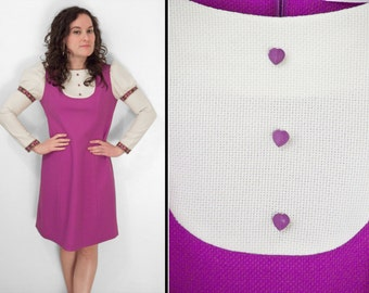 PURPLE Hearts Dress 1970s Gay Gibson Mutton Sleeve Dolly White Pink Purple Black