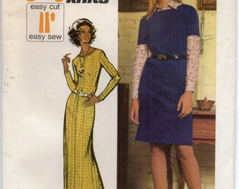 Stretch Knit Collarless Dress Dropped Shoulders Back Zipper Lowered Round Neckline Size 14 Used Vintage Sewing Pattern 1972 Simplicity 5419