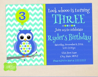 Owl Party Invitation - Owl Birthday Invite - Polka Dot Invitation - Owl Thank You Card - DIGITAL and PRINTED Available