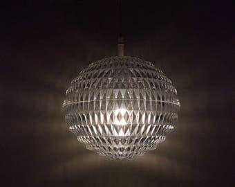 "Space age Erco acrylic ""diamond"" geometrical UFO lamp designed by Aloys Gangkofner."