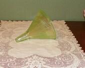 Vintage Vaseline Hoosier Cabinet FUNNEL Measuring Cup Depression Glass Jars green ribbed