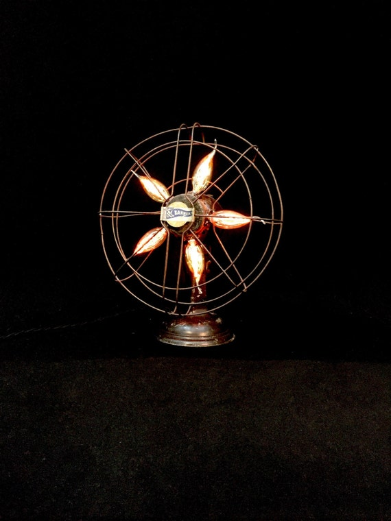 Table Lamp - Lighting - Upcycled Vintage Electric Fan - Light