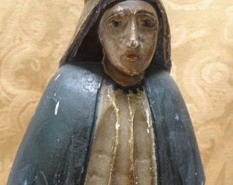 1800's Virgin Mary with Crown Santos, Antique Hand Carved Madonna Polychrome Bulto